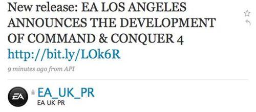EA新闻官冒然宣布《命令与征服4》