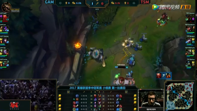 MSI季中冠军赛第一日第三场:GAM天秀狐狸  TSM不敌