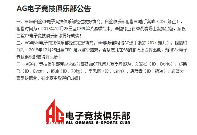 AG电子竞技俱乐部公布CFPL S8名单