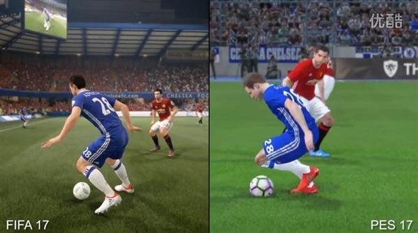 FIFA 17\/实况2017画面对比:差别如此巨大