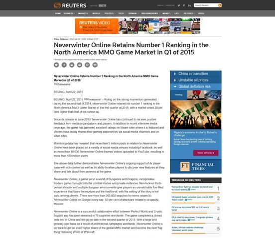 外媒称无冬OL为北美第一网游 国服年内上