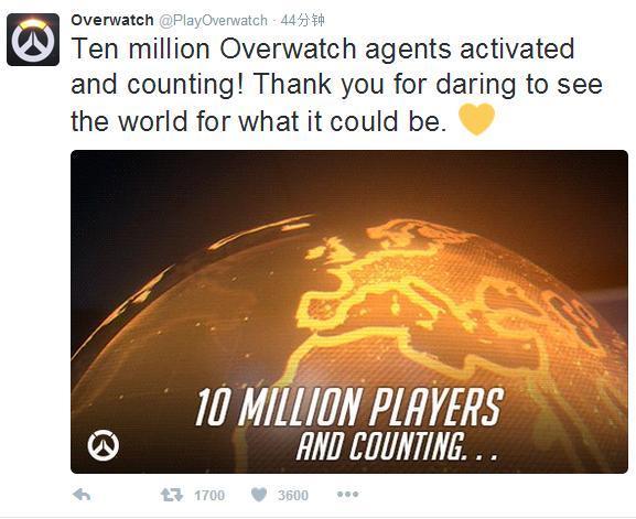 暴雪今日宣布《守望先锋》全球卖出超1000万份