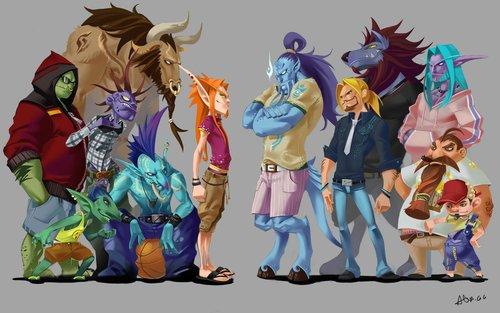 魔兽人物现代版全家福:《女友声援团》