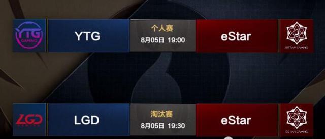 王者冠军杯5日前瞻:以一敌二!eStar将战YTG、LGD