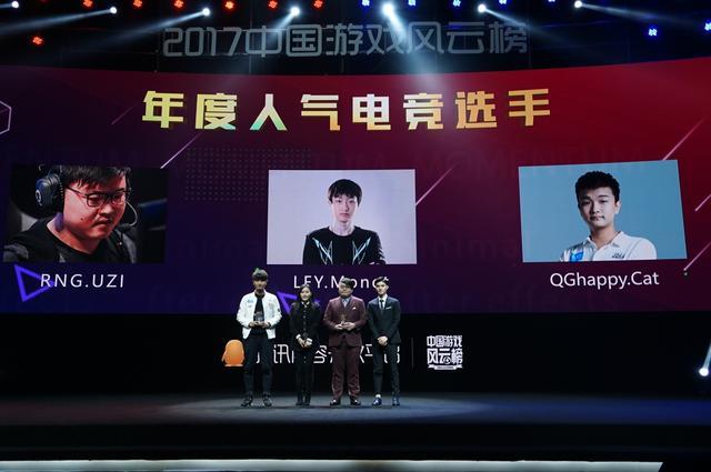 2017中国游戏风云榜:年度人气电竞选手公布