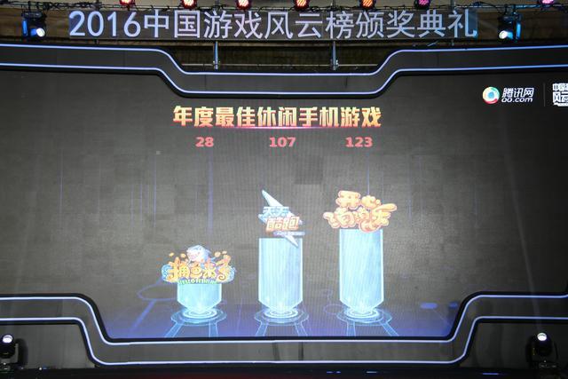 2016中国游戏风云榜:开心消消乐获年度最佳休闲手游
