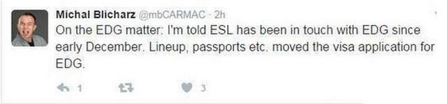 EDG老板爱德朱:IEM无邀请诚意和积极的配合举动