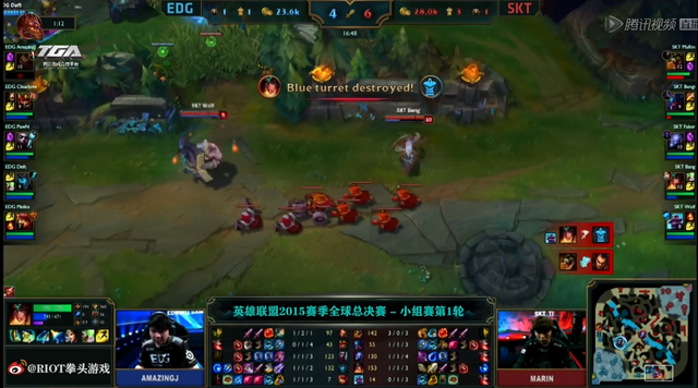 S5第三日小组赛第一场:SKT完胜EDG
