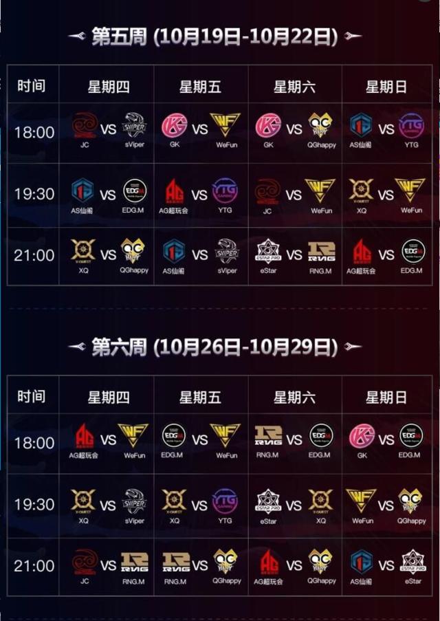 KPL秋季赛赛程公布 9.21揭幕战AG超玩会对阵XQ