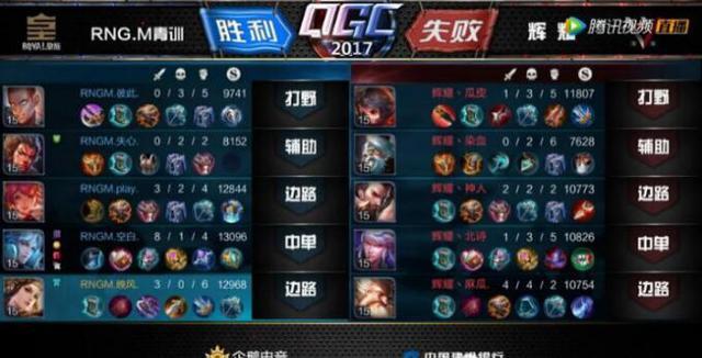 QGC王者荣耀总决赛:辉耀让一追三战胜RNG.M青训夺得季军