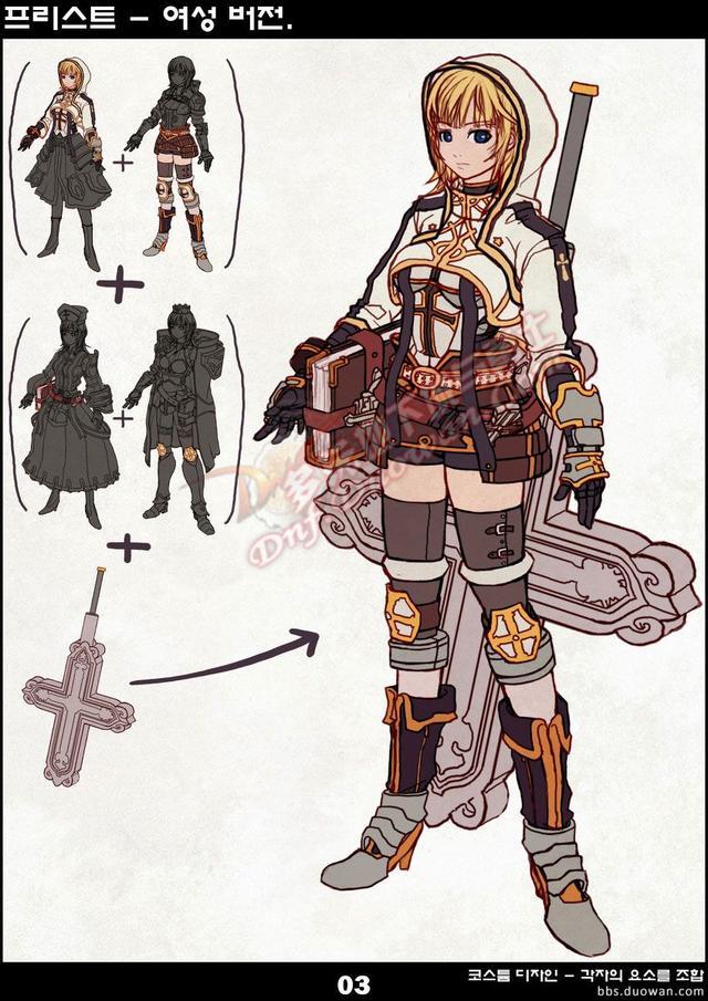 女圣职者设计初稿曝光 你喜欢黑长直还是黄毛?