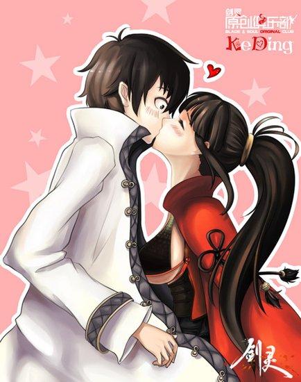 分别以浪漫爱情为主题的kiss香照和幽默贴心的彩色漫画,展示最新的