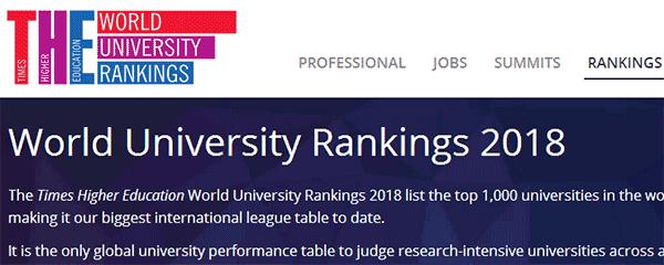 权威!2018年泰晤士世界大学排名出炉