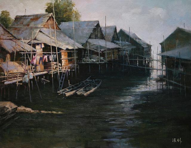 旱晨的渔村图片