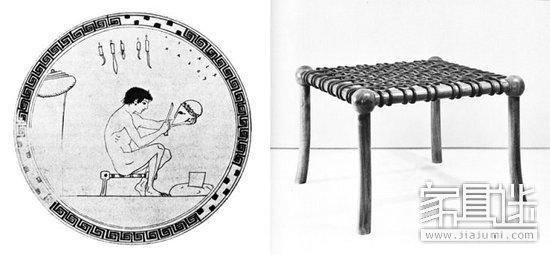 古希腊,家具的最大的特点是考虑人使用的舒适性,高尺度的坐椅设计所迫图片