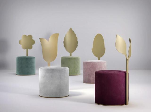 趣味植物丝绒座椅 象征自然的和谐永恒