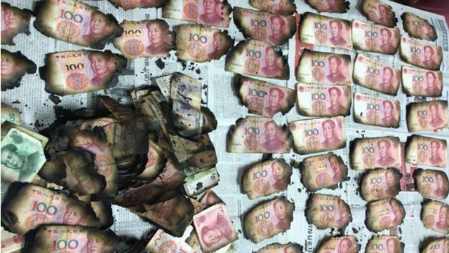 禅城市民7万多人民币被烧毁,工行佛山分行帮她换回近6万元