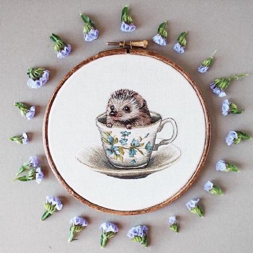 生动可爱的小动物刺绣设计作品
