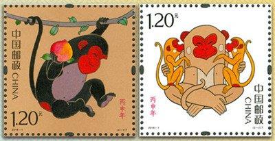 """左图为""""灵猴献瑞"""",右图为""""福寿双至"""""""