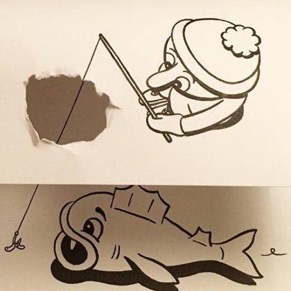 漫画家HuskMitNavn通过撕折纸张将绘画增加了一个维度>         <span class=