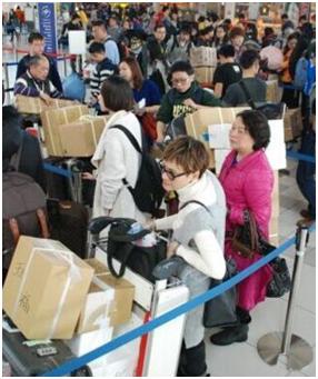 图为春节期间满载而归的中国游客