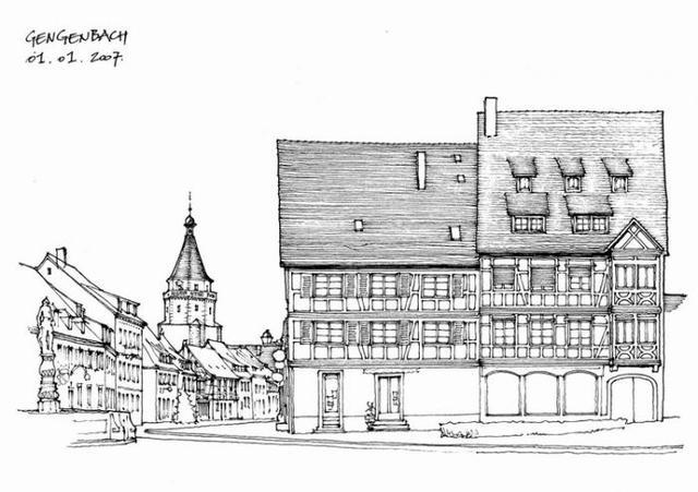 建筑风景钢笔手绘线条