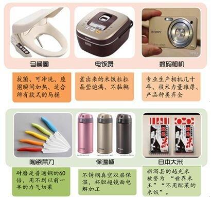 部分中国游客日本购物清单