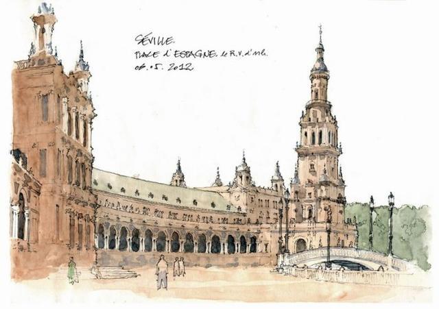 比利时钢笔画大师手绘西方古典建筑