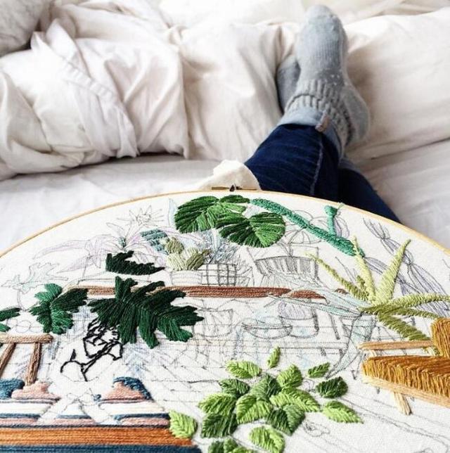 以刺绣绘制植物的艺术家 Sarah K. Benning