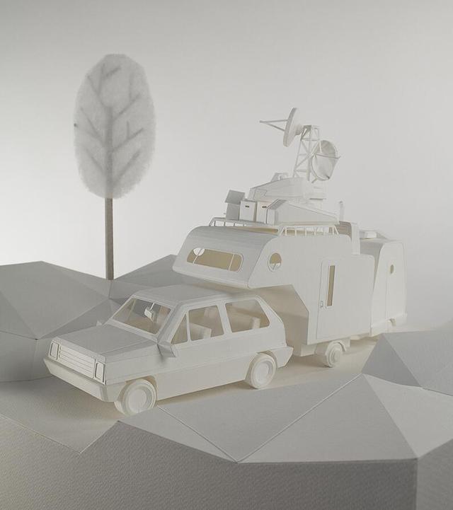 纸做成的迷你小房车