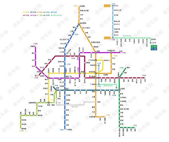 广州地铁线路图-明天起至除夕,广州地铁这些站点不停图片