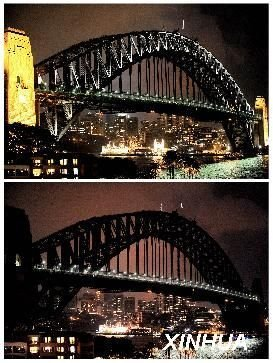 图文:澳大利亚悉尼港大桥已熄灯