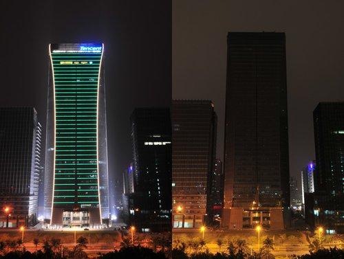 熄灯前后的深圳腾讯总部大厦对比(中)