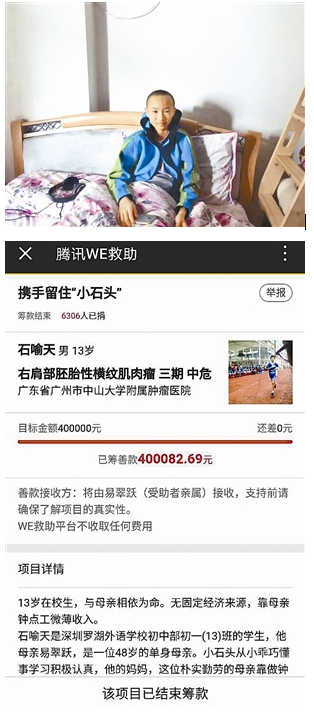 贫困家庭遇不测风云 13小时网筹40万救治贫困生