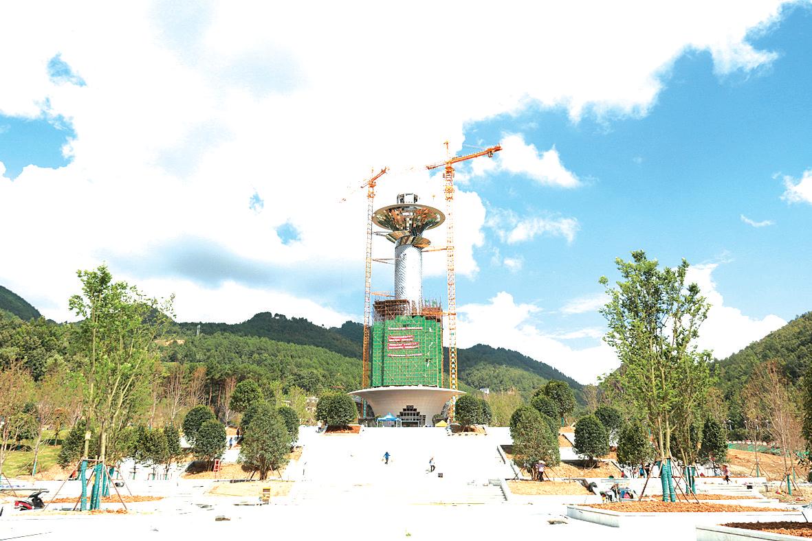 """""""天眼""""景区地标性建筑天文时空塔即将完工"""