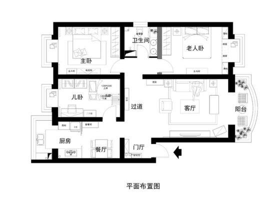 三代同住108平米三居简中式温馨家