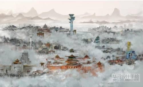 未来城市手绘 马克笔