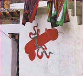 大阳具xxoo_不丹人把阳具当门神画墙上(图)