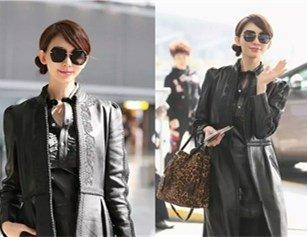林志玲穿黑色风衣帅气十足 发型暴露甜美性格