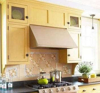 part3 黄色厨房色彩搭配案例:黄色橱柜 黑色大理石台面 绿色单品