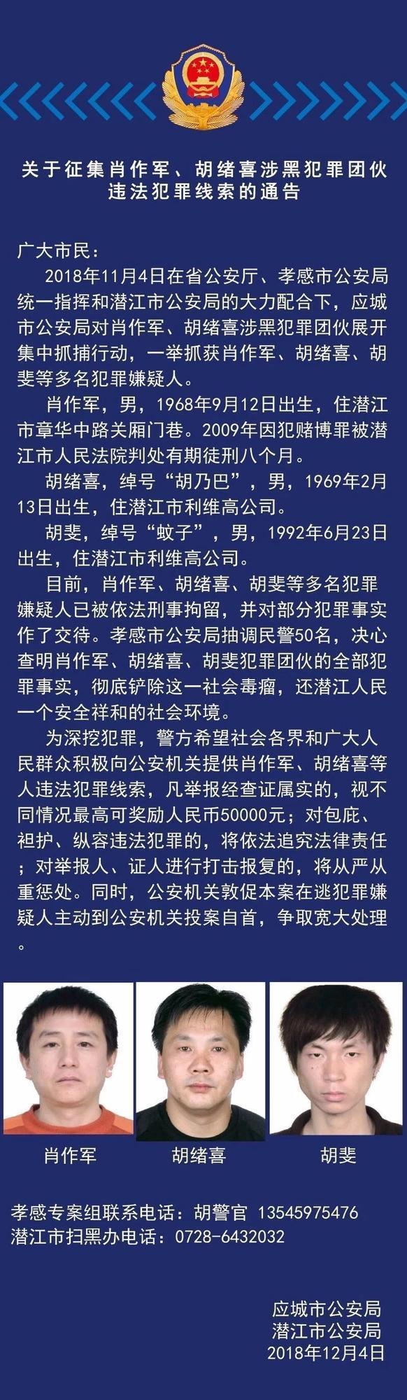 潜江征集涉黑团伙违法犯罪线索 最高奖励5万元