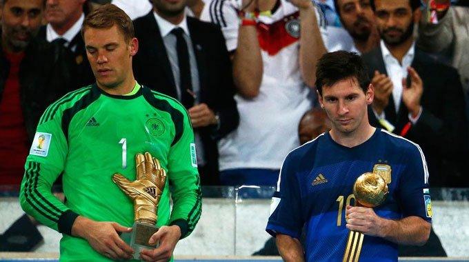 高清:个人奖揭晓 梅西夺金球诺伊尔赢金手套