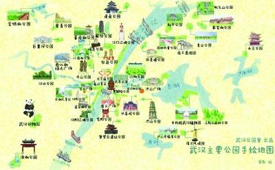 手绘地图上,罗斯用每个公园最具代表性的建筑和场景以及又圆又萌的