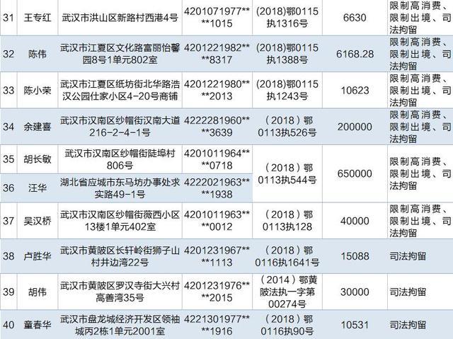 """武汉公布最新""""老赖""""名单 有人欠款1500万未还"""