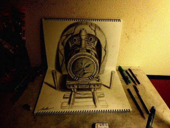 2岁艺术家用两素描本创作 绘制创意3D神作