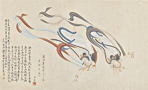 莫高窟,飞天等名词上……4月16日,《牛玉生临敦煌壁画作品展》在武汉图片