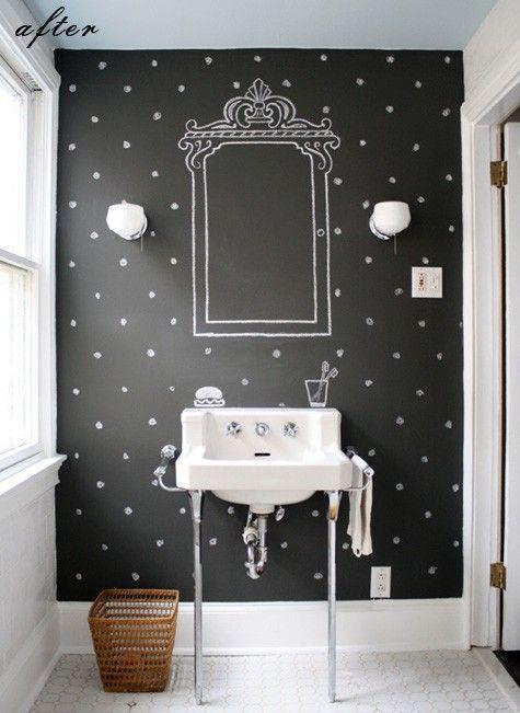 把卧室里的床头背景墙打造成黑板墙,diy你的床头造型吧!