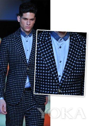 蓝色小立领衬衫搭配波点西装