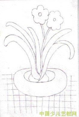 小女孩送妈妈花朵简笔画