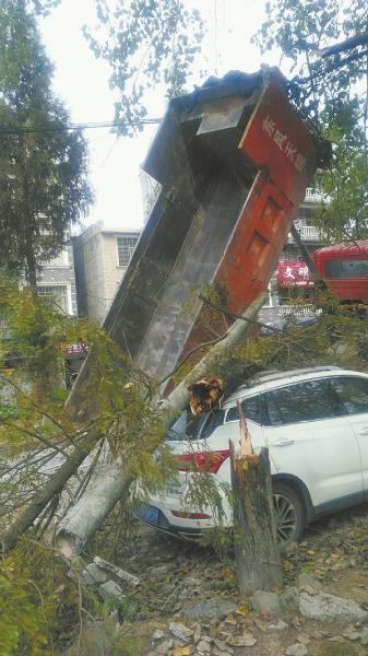 司机大意未放下车斗 将10多条缆线一并拉断